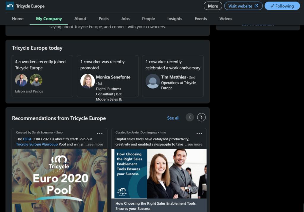 Dark mode Company Page